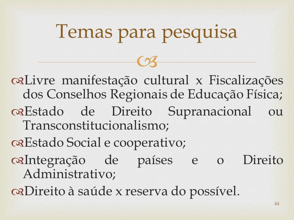 Temas para pesquisa Livre manifestação cultural x Fiscalizações dos Conselhos Regionais de Educação Física;