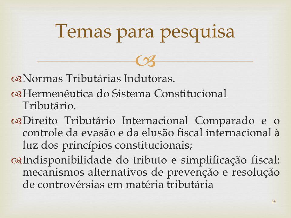Temas para pesquisa Normas Tributárias Indutoras.