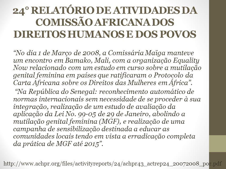 24° RELATÓRIO DE ATIVIDADES DA COMISSÃO AFRICANA DOS DIREITOS HUMANOS E DOS POVOS