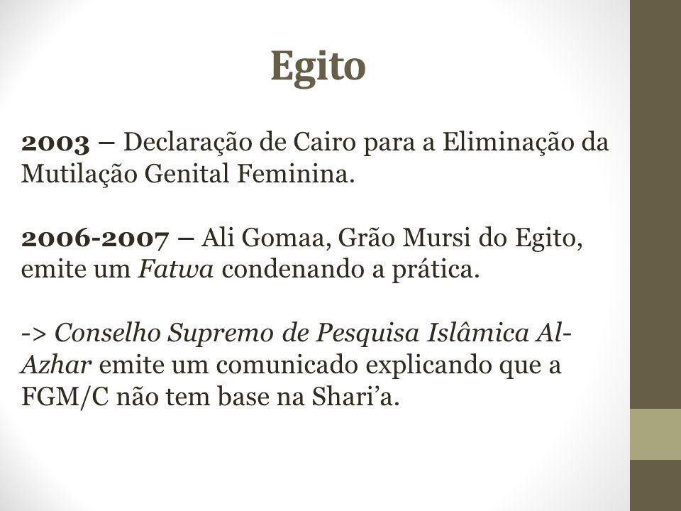 Egito 2003 – Declaração de Cairo para a Eliminação da Mutilação Genital Feminina.