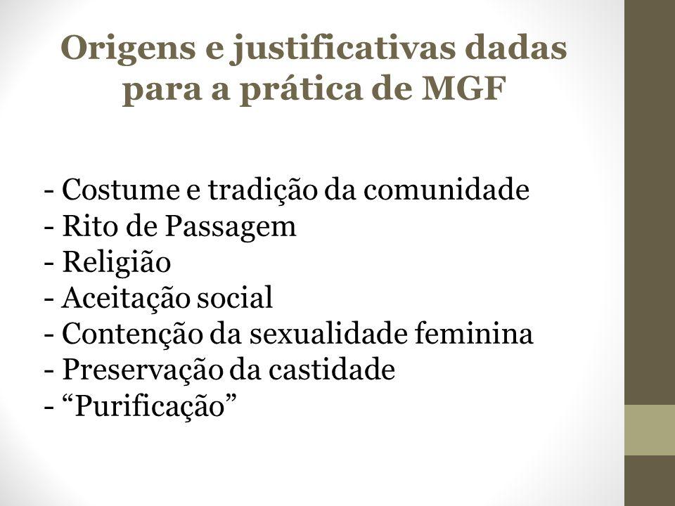 Origens e justificativas dadas para a prática de MGF