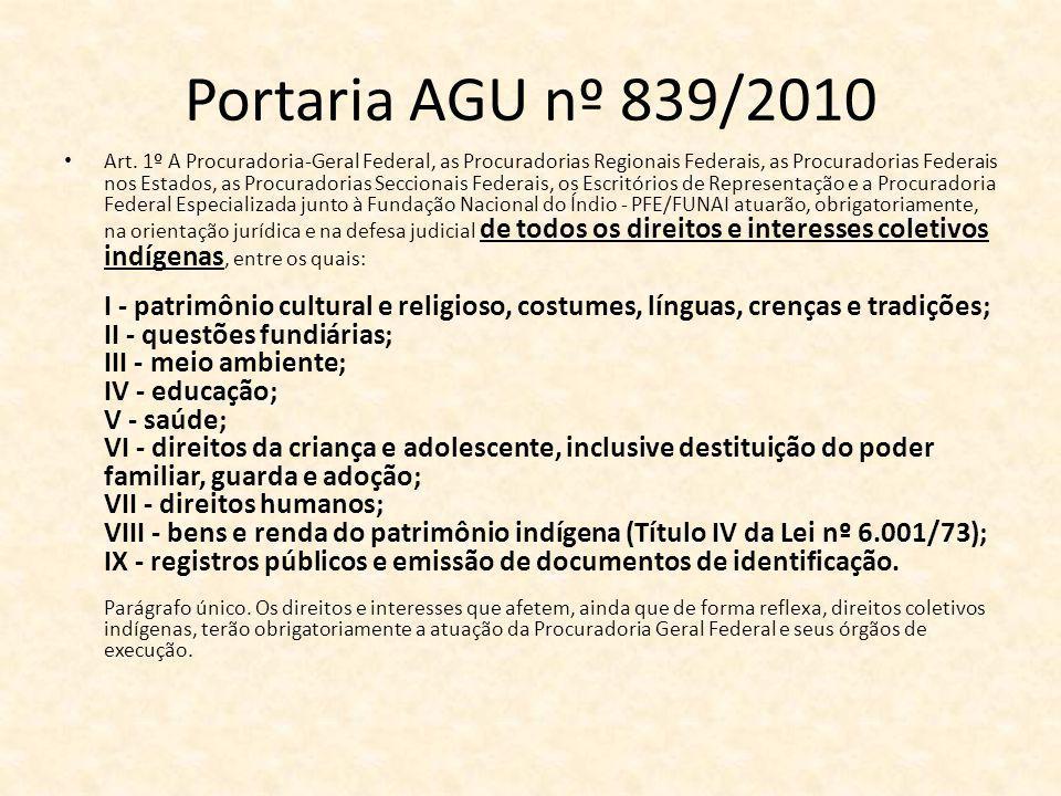 Portaria AGU nº 839/2010