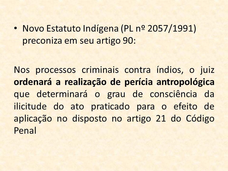 Novo Estatuto Indígena (PL nº 2057/1991) preconiza em seu artigo 90: