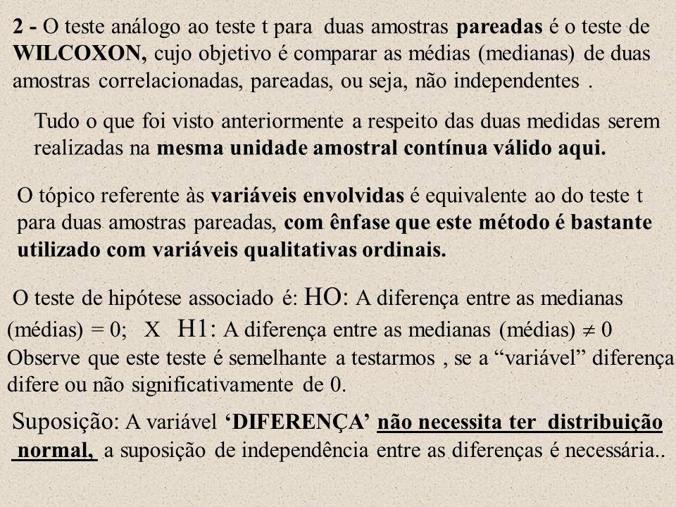 Suposição: A variável 'DIFERENÇA' não necessita ter distribuição