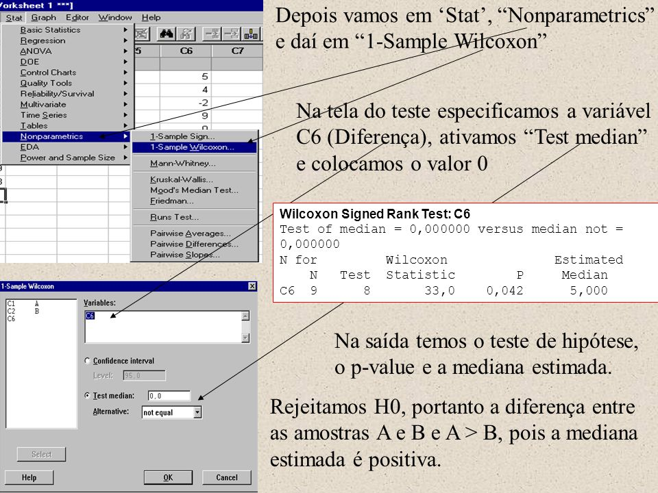 Depois vamos em 'Stat', Nonparametrics e daí em 1-Sample Wilcoxon