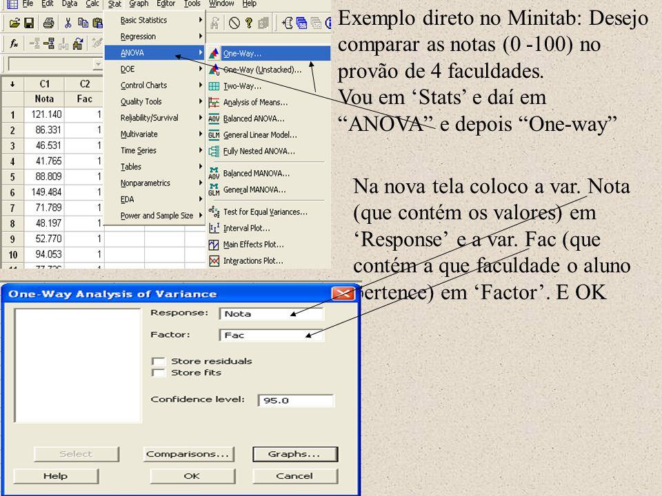 Exemplo direto no Minitab: Desejo