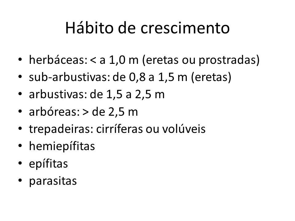 Hábito de crescimento herbáceas: < a 1,0 m (eretas ou prostradas)
