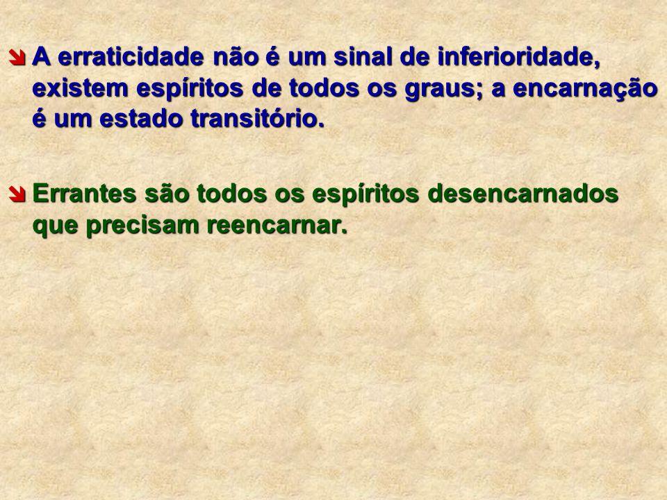 A erraticidade não é um sinal de inferioridade, existem espíritos de todos os graus; a encarnação é um estado transitório.