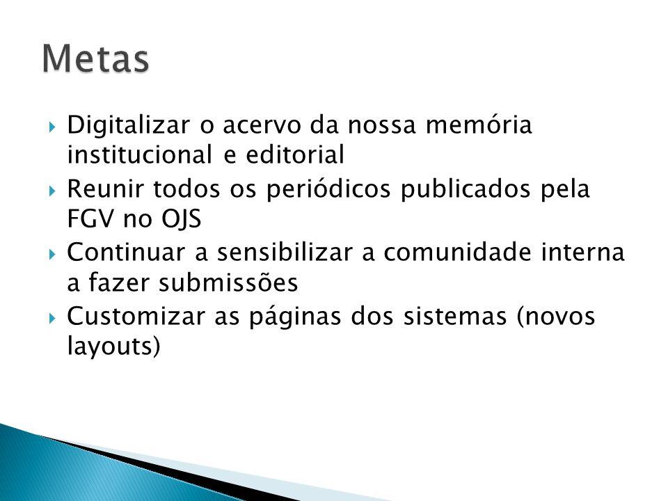 Metas Digitalizar o acervo da nossa memória institucional e editorial
