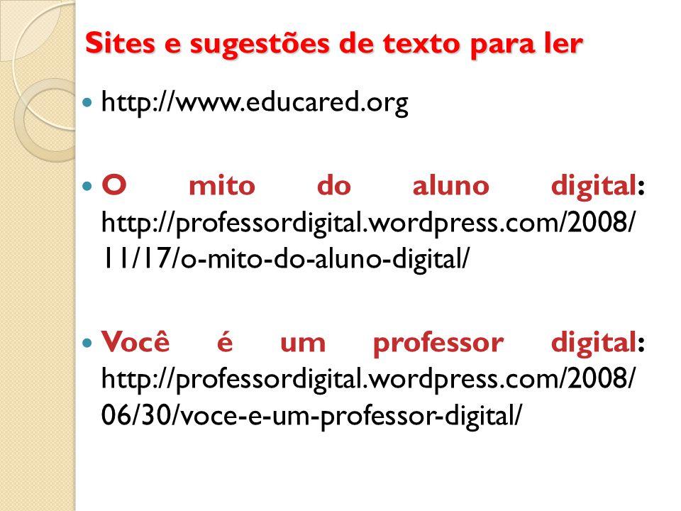 Sites e sugestões de texto para ler