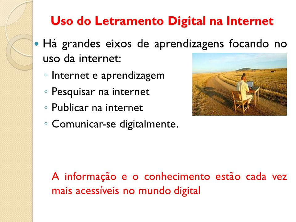 Uso do Letramento Digital na Internet