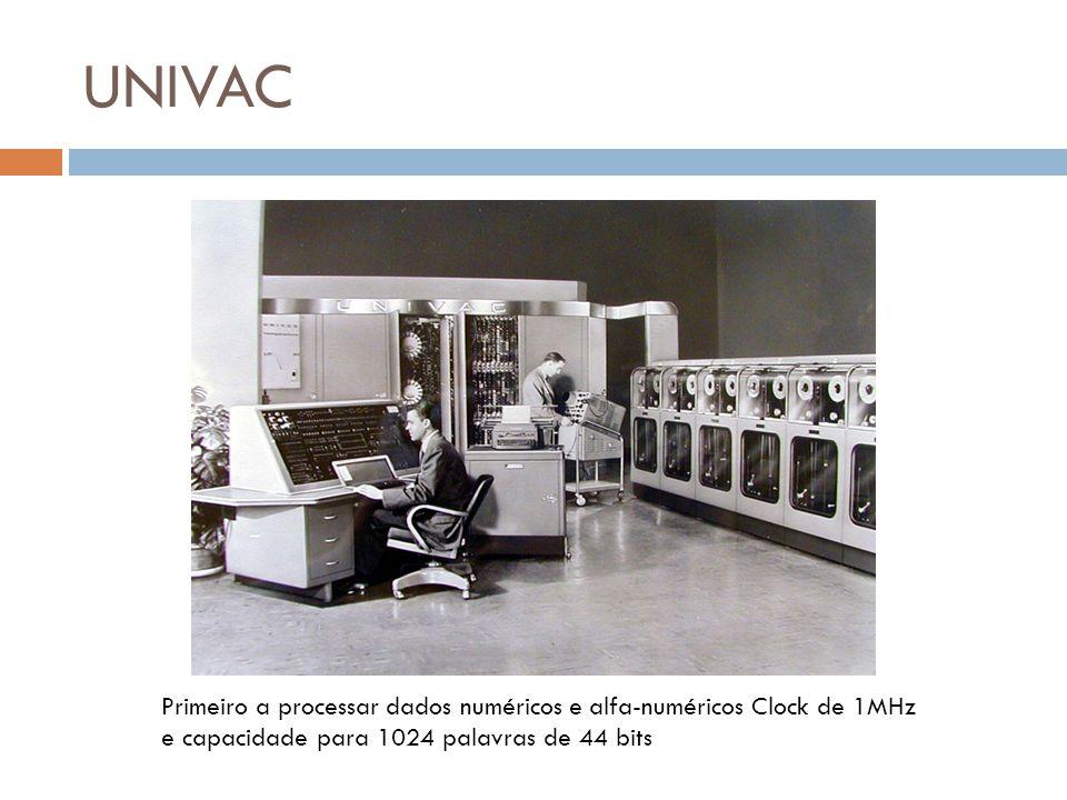 UNIVAC Primeiro a processar dados numéricos e alfa-numéricos Clock de 1MHz e capacidade para 1024 palavras de 44 bits.