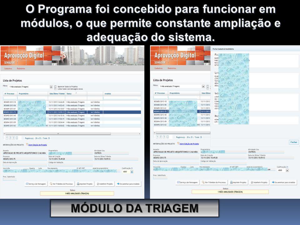 O Programa foi concebido para funcionar em módulos, o que permite constante ampliação e adequação do sistema.