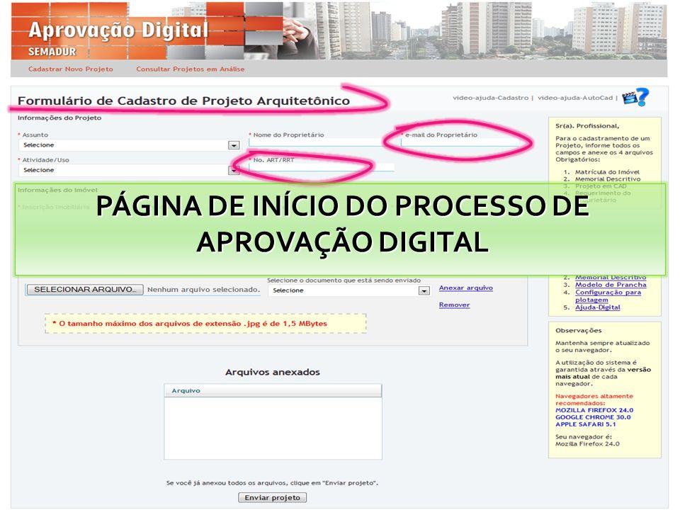 PÁGINA DE INÍCIO DO PROCESSO DE APROVAÇÃO DIGITAL