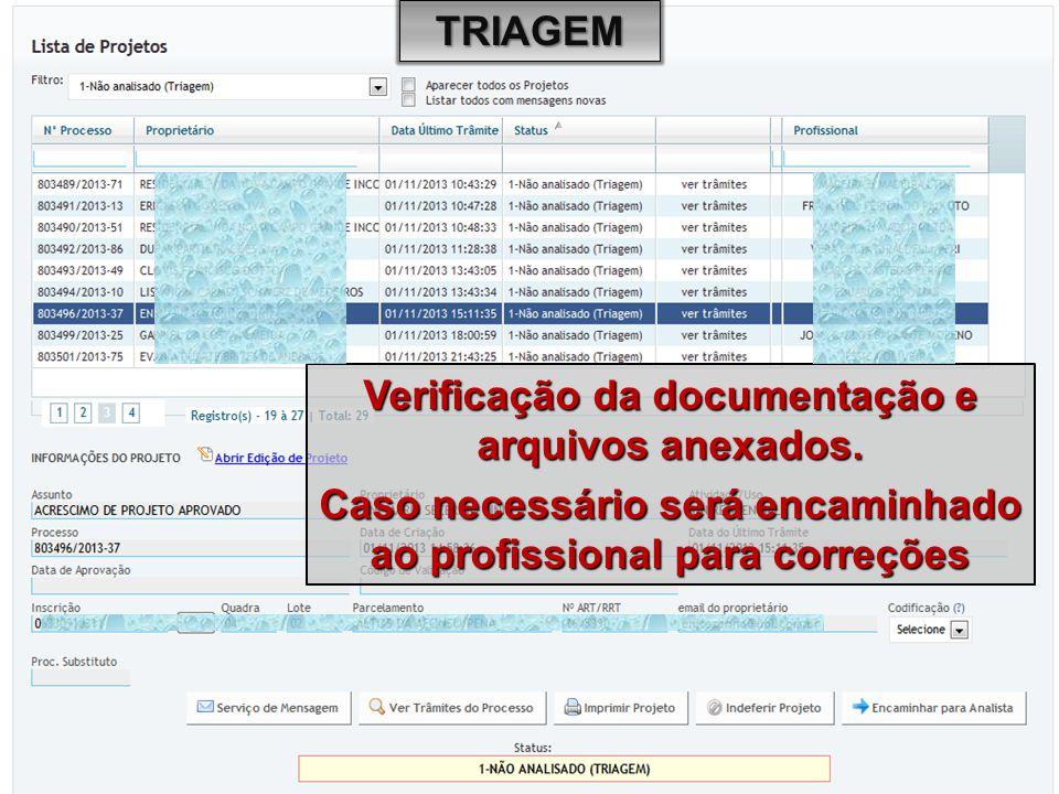 Verificação da documentação e arquivos anexados.