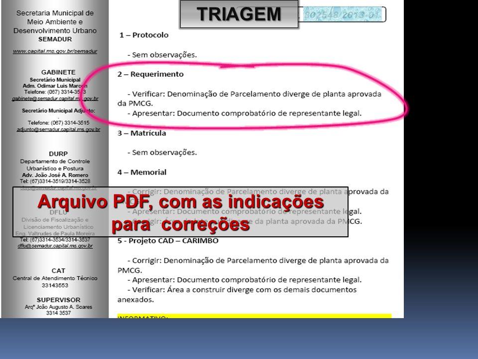 Arquivo PDF, com as indicações para correções
