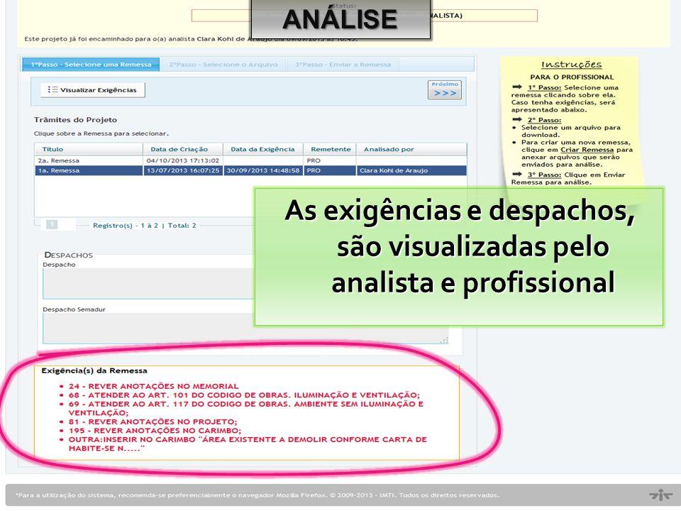ANÁLISE As exigências e despachos, são visualizadas pelo analista e profissional