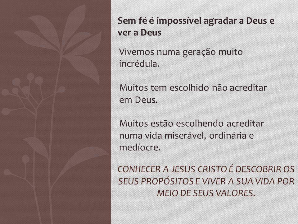 Sem fé é impossível agradar a Deus e