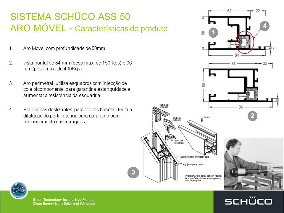 SISTEMA SCHÜCO ASS 50 ARO MÓVEL - Características do produto