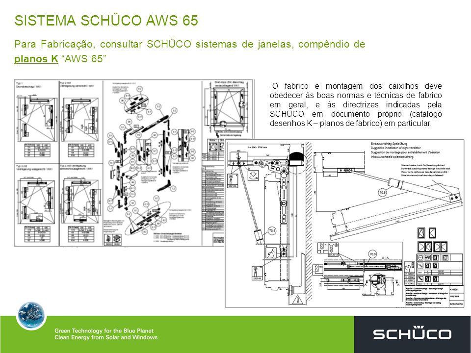 SISTEMA SCHÜCO AWS 65 Para Fabricação, consultar SCHÜCO sistemas de janelas, compêndio de planos K AWS 65