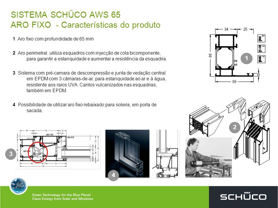 SISTEMA SCHÜCO AWS 65 ARO FIXO - Características do produto