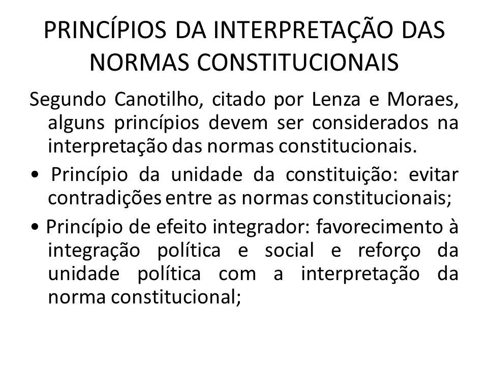 PRINCÍPIOS DA INTERPRETAÇÃO DAS NORMAS CONSTITUCIONAIS