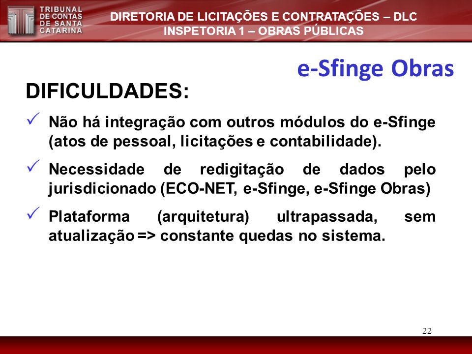 e-Sfinge Obras DIFICULDADES: