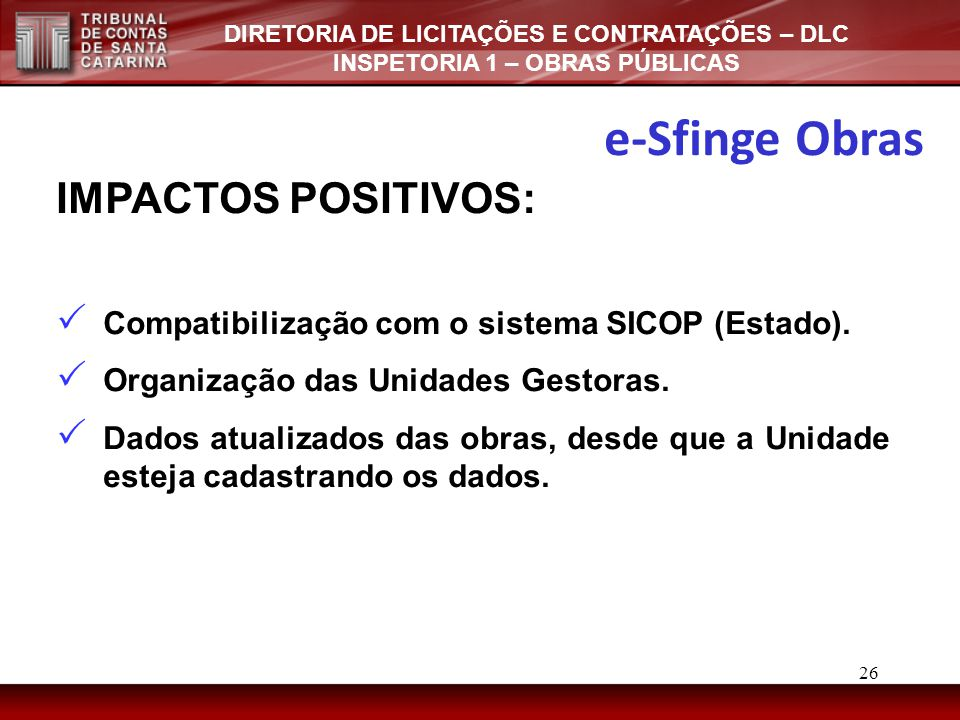 e-Sfinge Obras IMPACTOS POSITIVOS:
