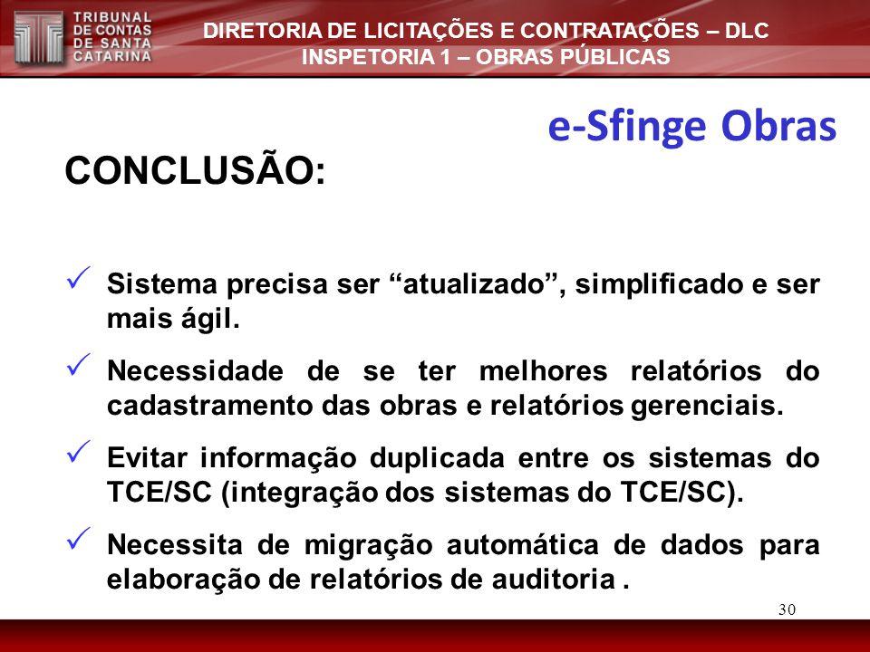 e-Sfinge Obras CONCLUSÃO: