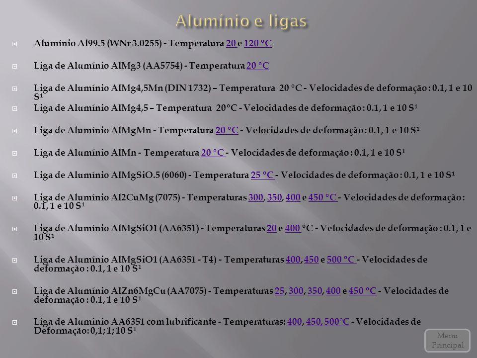 Alumínio e ligas Alumínio Al99.5 (WNr 3.0255) - Temperatura 20 e 120 ºC. Liga de Alumínio AlMg3 (AA5754) - Temperatura 20 ºC.