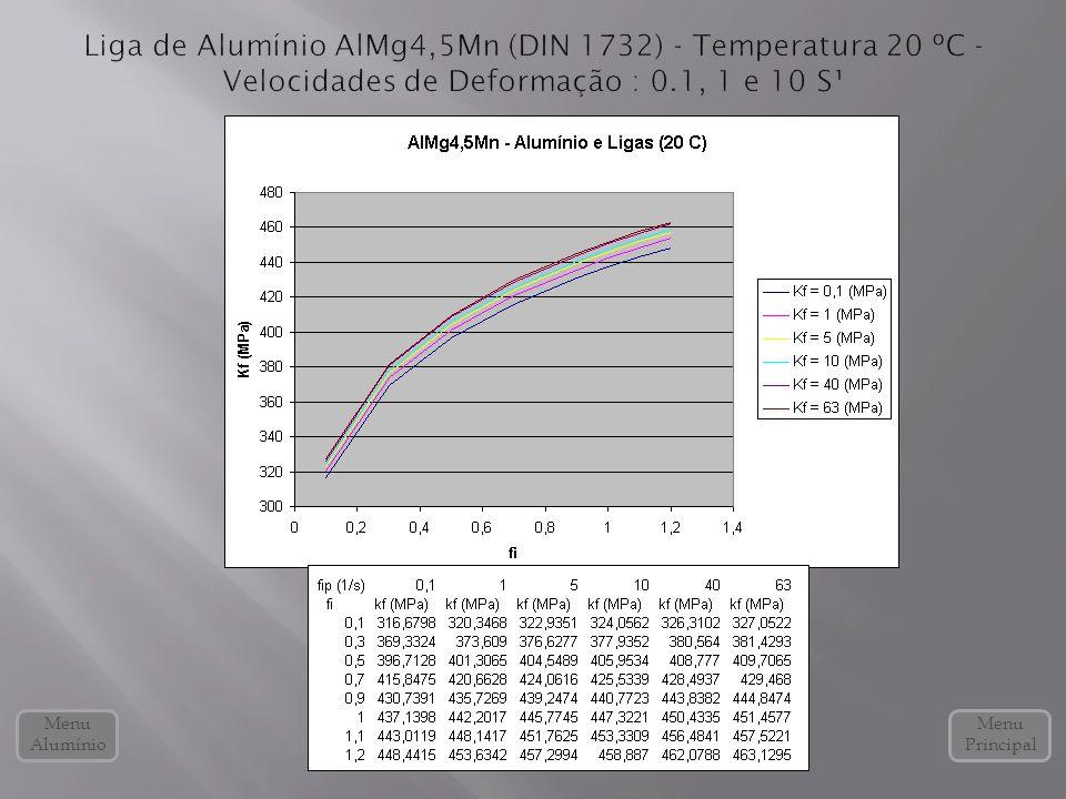 Liga de Alumínio AlMg4,5Mn (DIN 1732) - Temperatura 20 ºC - Velocidades de Deformação : 0.1, 1 e 10 S¹