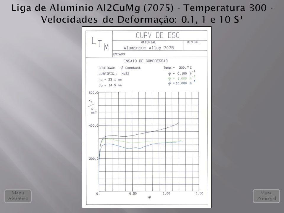 Liga de Alumínio Al2CuMg (7075) - Temperatura 300 - Velocidades de Deformação: 0.1, 1 e 10 S¹