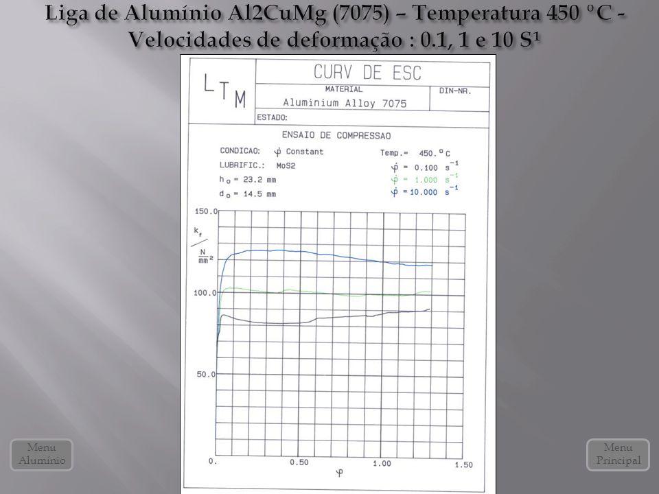 Liga de Alumínio Al2CuMg (7075) – Temperatura 450 ºC - Velocidades de deformação : 0.1, 1 e 10 S¹