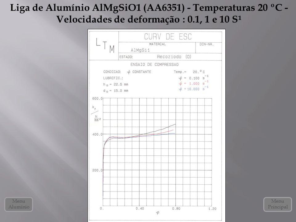 Liga de Alumínio AlMgSiO1 (AA6351) - Temperaturas 20 ºC - Velocidades de deformação : 0.1, 1 e 10 S¹