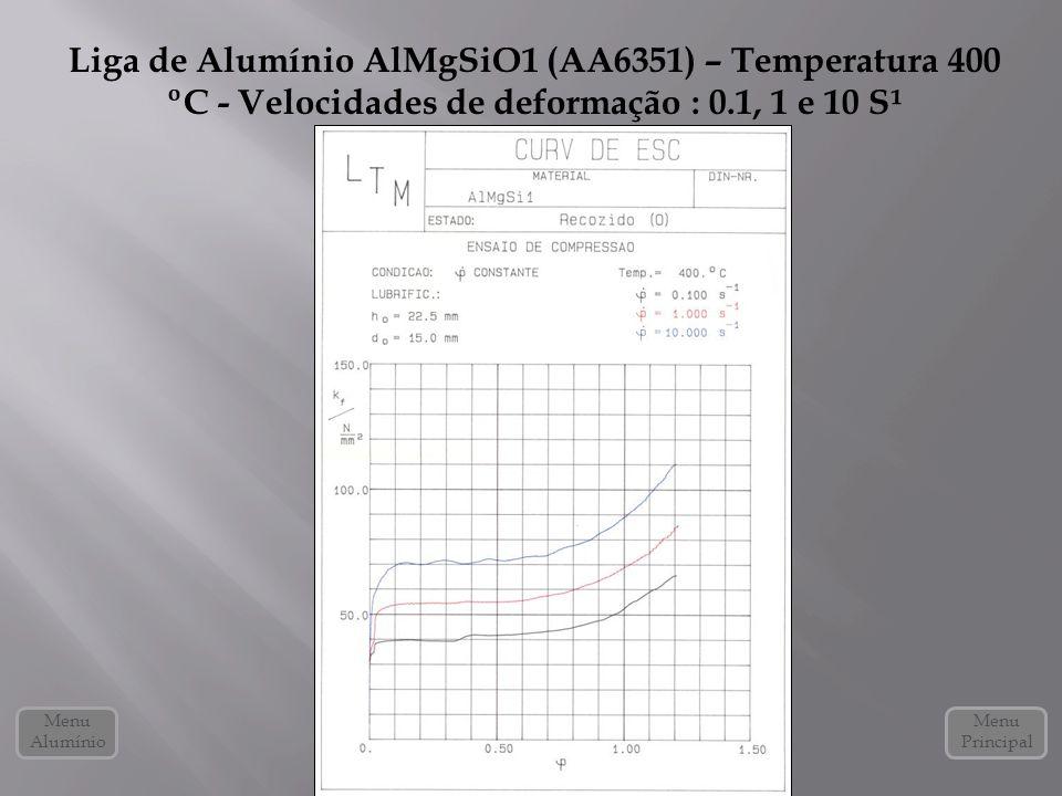 Liga de Alumínio AlMgSiO1 (AA6351) – Temperatura 400 ºC - Velocidades de deformação : 0.1, 1 e 10 S¹