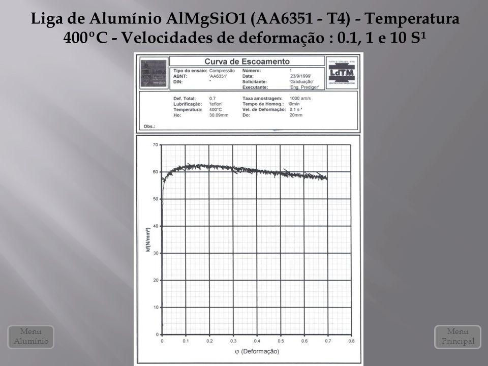 Liga de Alumínio AlMgSiO1 (AA6351 - T4) - Temperatura 400ºC - Velocidades de deformação : 0.1, 1 e 10 S¹