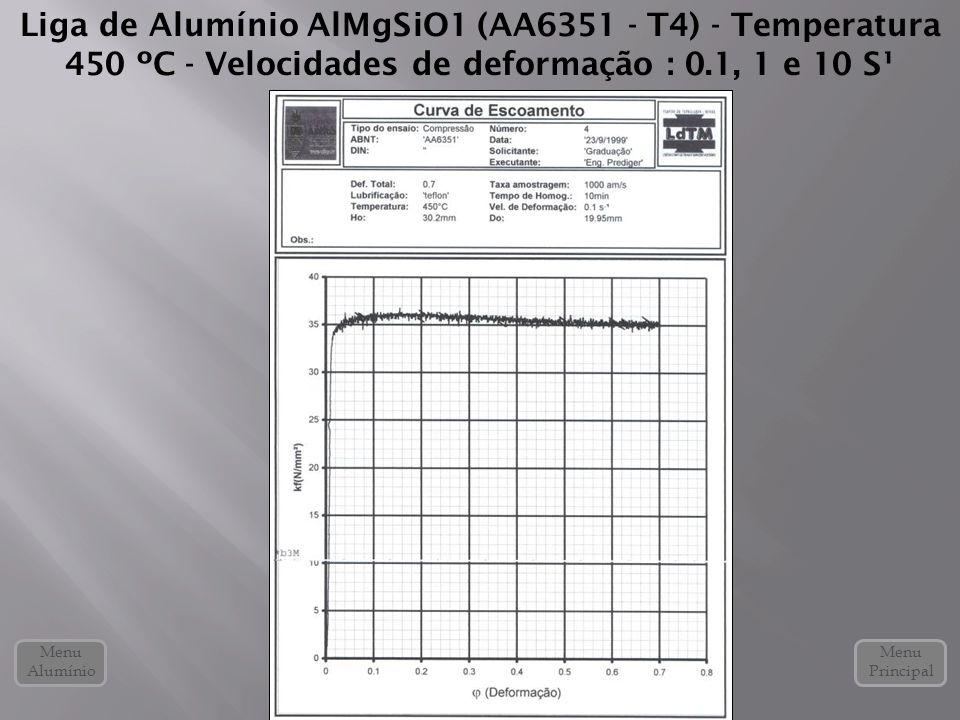 Liga de Alumínio AlMgSiO1 (AA6351 - T4) - Temperatura 450 ºC - Velocidades de deformação : 0.1, 1 e 10 S¹