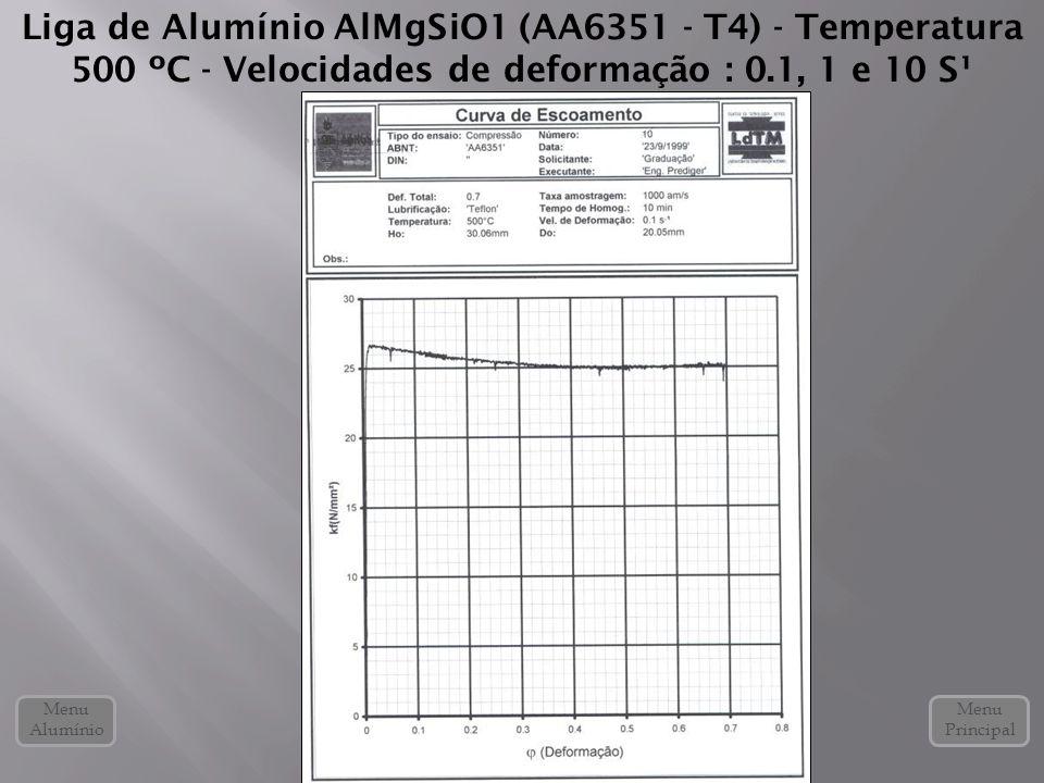 Liga de Alumínio AlMgSiO1 (AA6351 - T4) - Temperatura 500 ºC - Velocidades de deformação : 0.1, 1 e 10 S¹