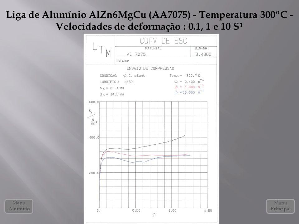 Liga de Alumínio AlZn6MgCu (AA7075) - Temperatura 300ºC - Velocidades de deformação : 0.1, 1 e 10 S¹
