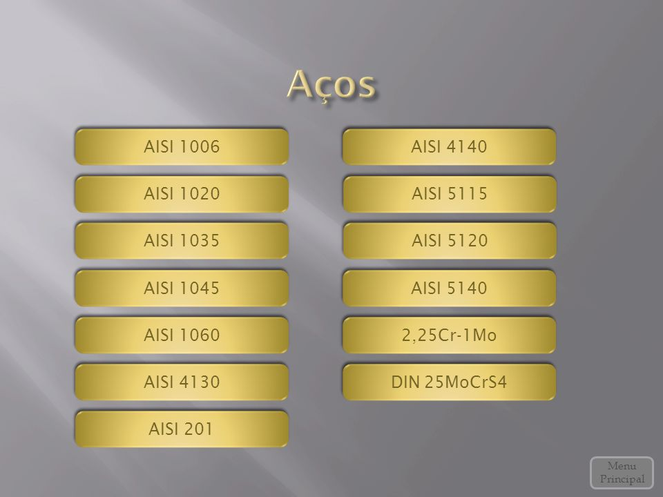 Aços AISI 1006 AISI 4140 AISI 1020 AISI 5115 AISI 1035 AISI 5120