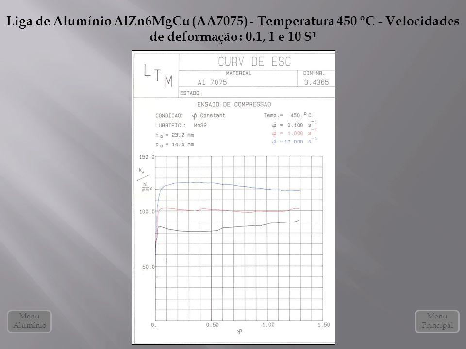Liga de Alumínio AlZn6MgCu (AA7075) - Temperatura 450 ºC - Velocidades de deformação : 0.1, 1 e 10 S¹