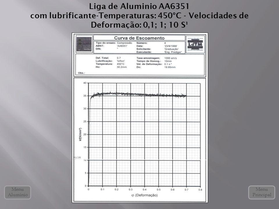 Liga de Aluminio AA6351 com lubrificante-Temperaturas: 450°C - Velocidades de Deformação: 0,1; 1; 10 S¹.