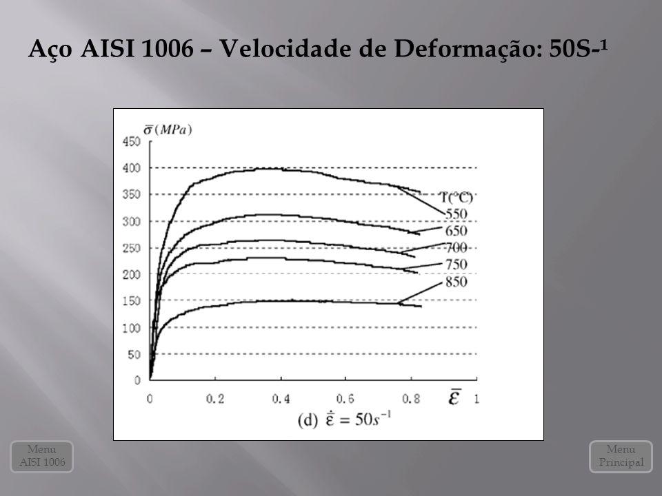 Aço AISI 1006 – Velocidade de Deformação: 50S-¹
