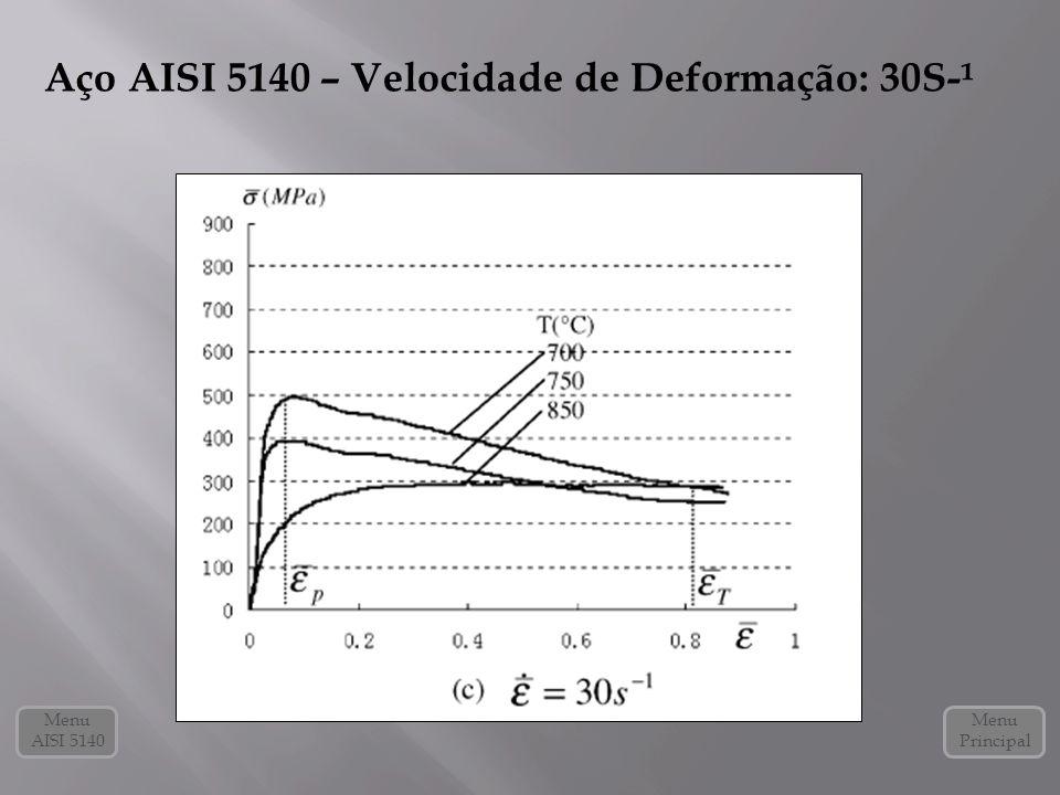 Aço AISI 5140 – Velocidade de Deformação: 30S-¹