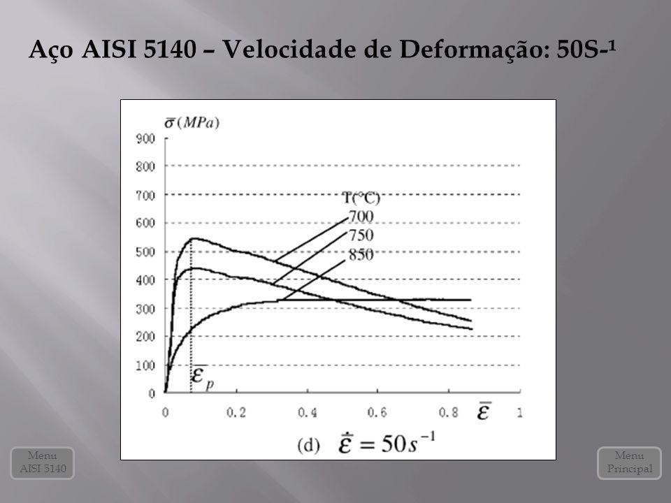 Aço AISI 5140 – Velocidade de Deformação: 50S-¹