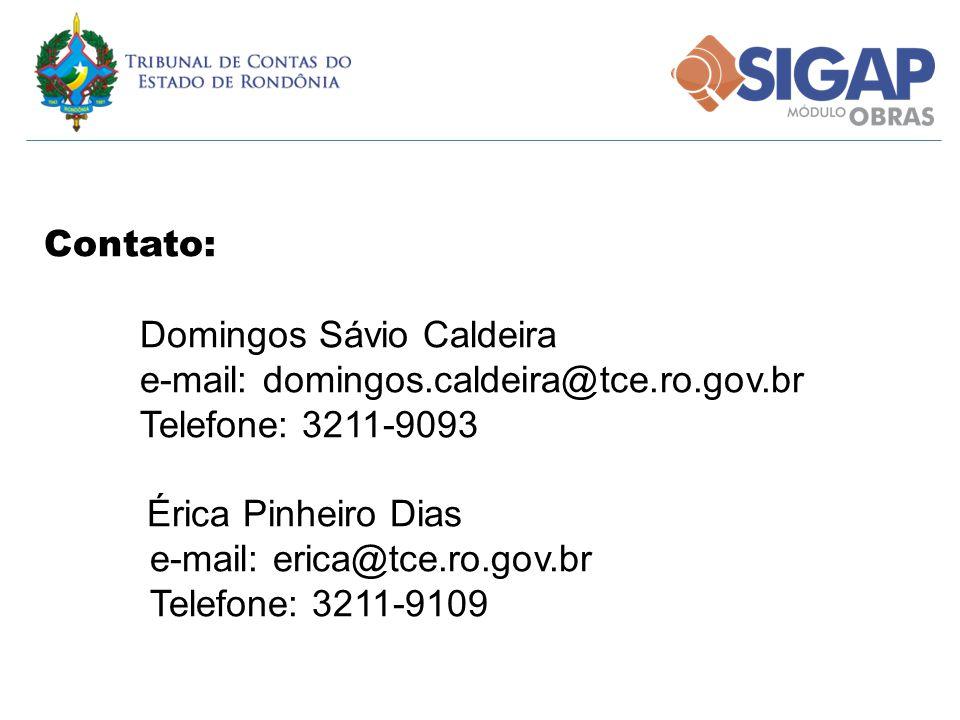 Contato: Domingos Sávio Caldeira. e-mail: domingos.caldeira@tce.ro.gov.br. Telefone: 3211-9093. Érica Pinheiro Dias.
