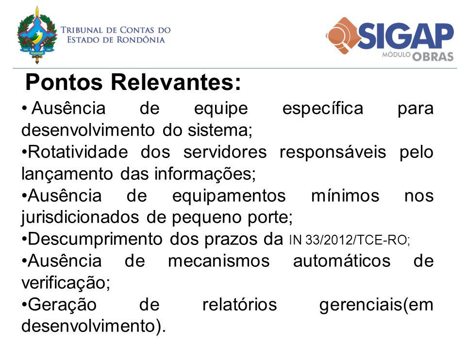 Pontos Relevantes: Ausência de equipe específica para desenvolvimento do sistema;