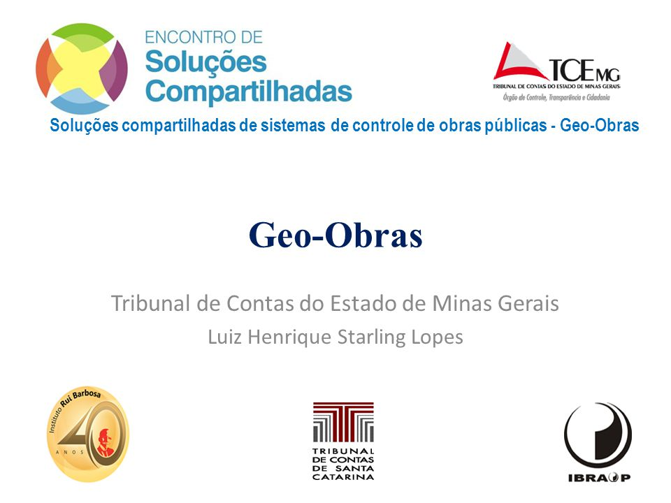 Geo-Obras Tribunal de Contas do Estado de Minas Gerais