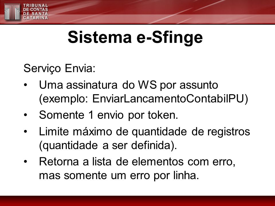 Sistema e-Sfinge Serviço Envia: