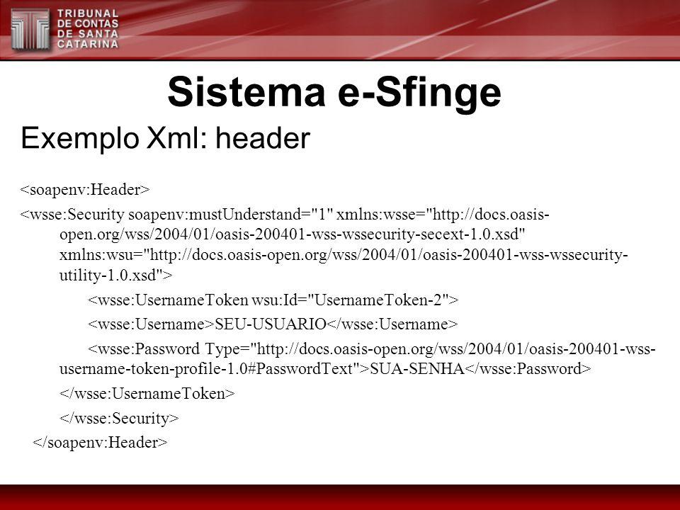 Sistema e-Sfinge Exemplo Xml: header <soapenv:Header>